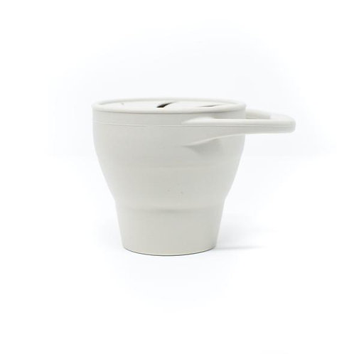 Baby Bar & Co. Silicone Collapsible Snack Cup with Lid Taupe