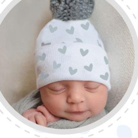 ilybean Grey Hearts Pom Hat