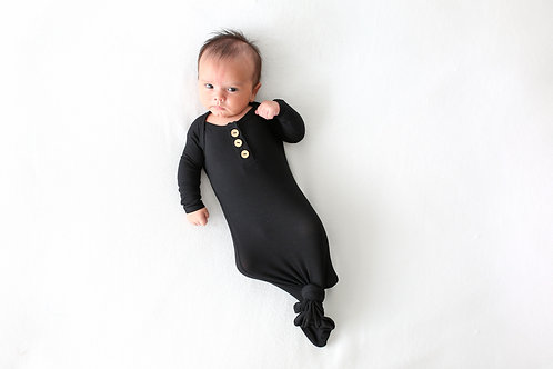 Posh Peanut Solid Ribbed Black Wood Button Knotted Gown