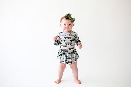 Posh Peanut Cash Long Sleeve w/ Twirl Skirt Bodysuit