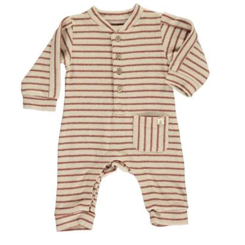 Me and Henry Brown and Beige Striped Romper