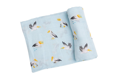 Angel Dear Pelicans Swaddle Blanket Blue
