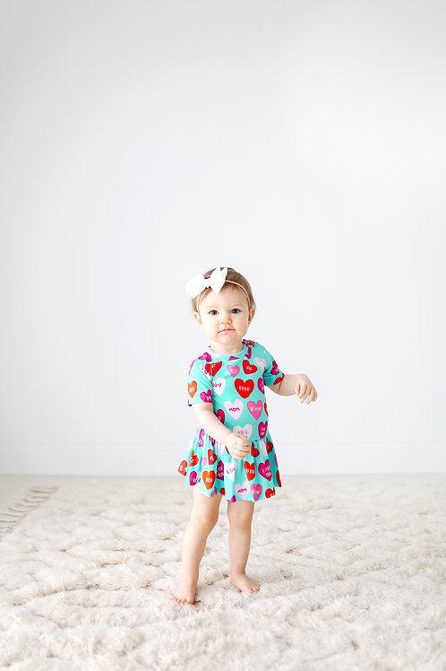 Posh Peanut Valerie Short Sleeve Basic with Twirl Skirt Bodysuit