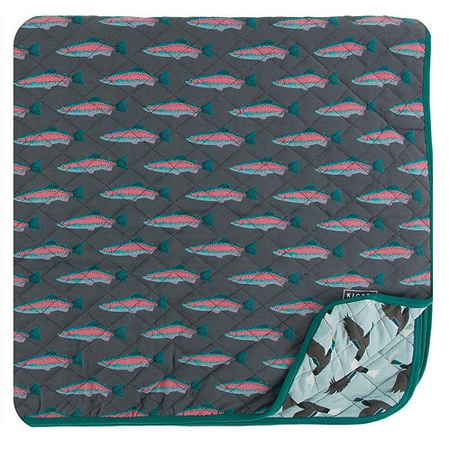 Print Quilted Toddler Blanket Stone Rainbow Trout