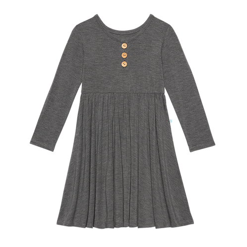 Posh Peanut Charcoal Heather  Long Sleeve Henley Twirl Dress
