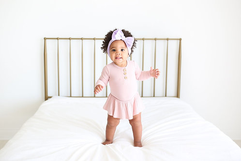 Posh Peanut Solid Ribbed Sweet Pink Long Sleeve Henley with Twirl Skirt Bodysuit