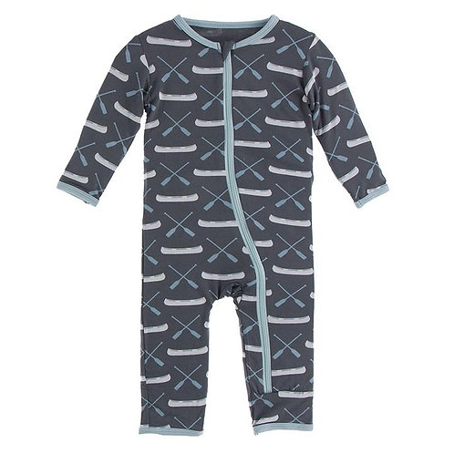 Print Coverall with Zipper Stone Paddles and Canoe