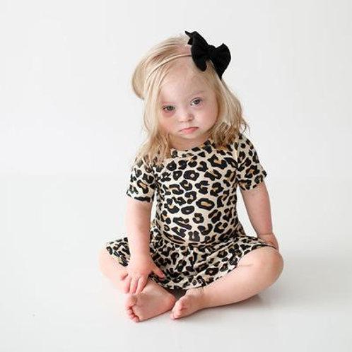 Posh Peanut Lana Leopard Short Sleeve with Twirl Skirt Bodysuit