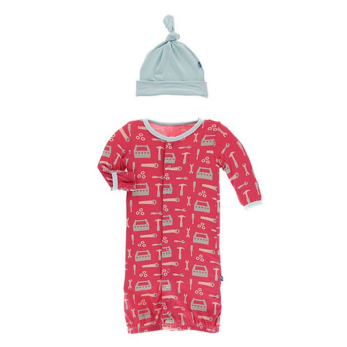 Print Gown Converter & Knot Hat Set Flag Red Construction