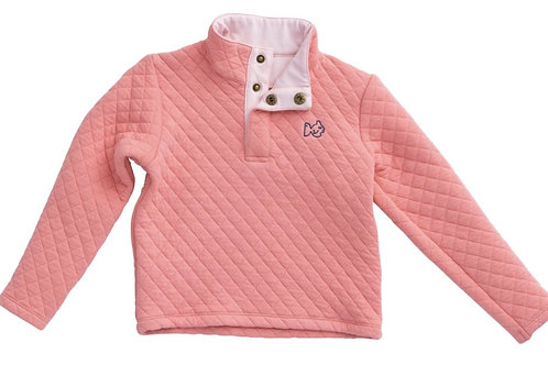 Prodoh Girl's Quilted Quarter Snap Pullover Salmon Rose