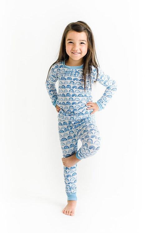 Little Sleepies Blue Rainbows Pajama Set