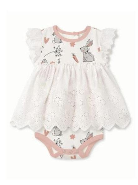 Tesa Babe Happy Bunnies Eyelet Flutter Sleeve Lace Skirted Bodysuit