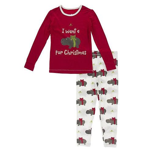 Long Sleeve Graphic Tee Pajama Set Natural Christmas Hippo
