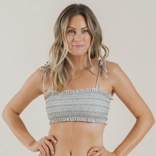 Rylee & Cru Sage Garden Smocked Bikini Top