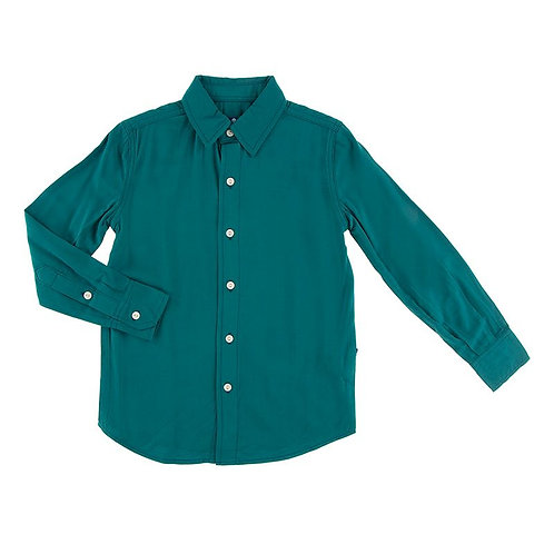 Solid Long Sleeve Woven Button Down Shirt Oasis