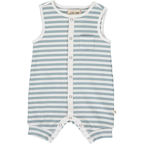 Me & Henry Pablo Ribbed Playsuit Grey/White Stripe