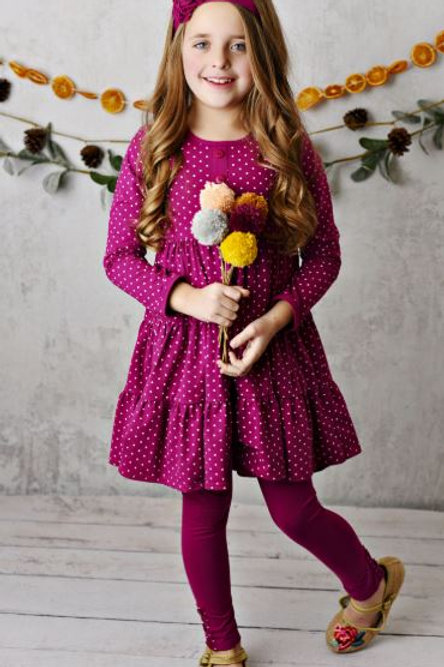 Serendipity Mulberry Dot Dress with Leggings