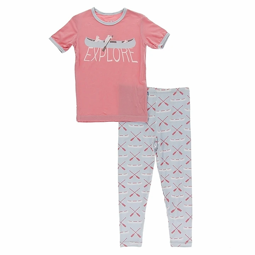 Graphic Tee Pajama Set Dew Paddles and Canoe
