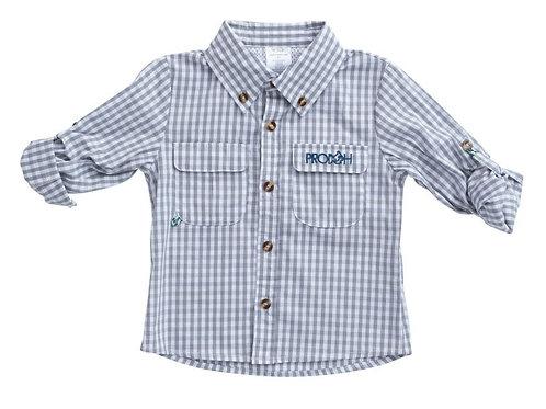 Prodoh Windowpane Vented Back Fishing Shirt Igneous Gray