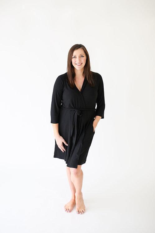 Posh Peanut Solid Ribbed Black Mommy Robe