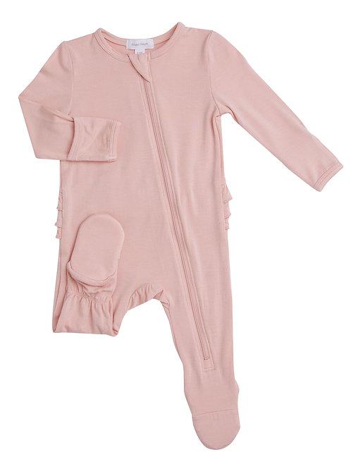 Angel Dear Modern Basics Zipper Footie in Pale Pink