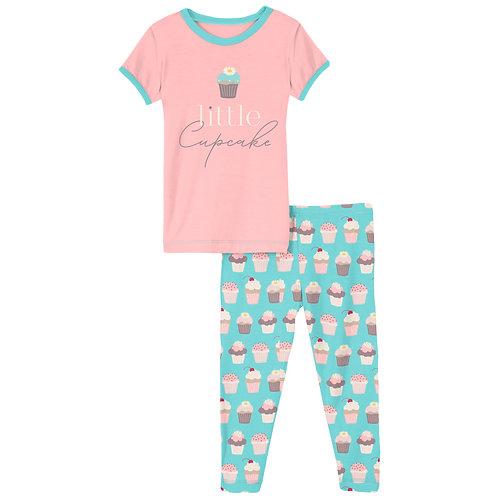 Kickee Pants Graphic Tee Pajama Set Summer Sky Cupcakes