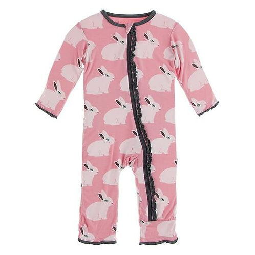 Muffin Ruffle Coverall with Zipper Strawberry Forest Rabbits