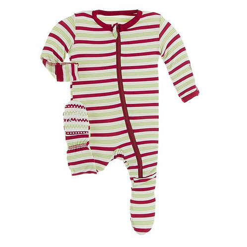 Print Footie with Zipper 2020 Candy Cane Stripe