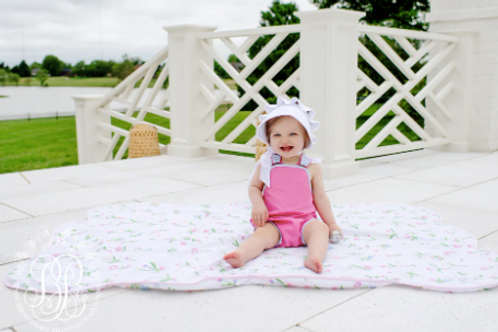 The Beaufort Bonnet Saylor Sunsuit Hamptons Hot Pink with Buckhead Blue
