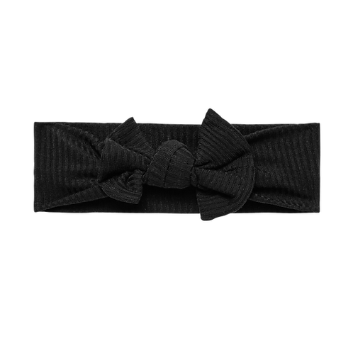 Posh Peanut Solid Ribbed Black Infant Headwrap