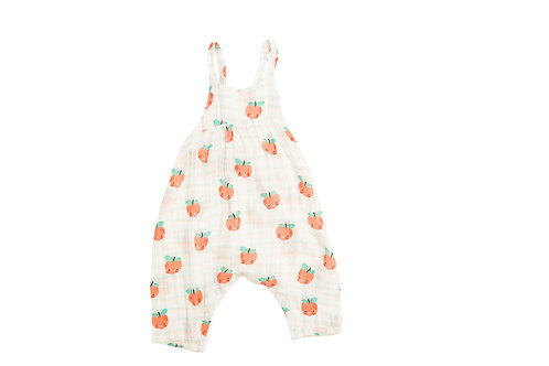 Angel Dear Plaid Peaches Tie Back Romper