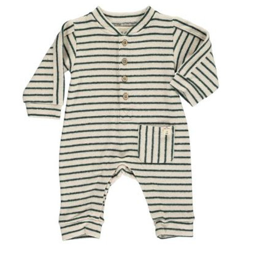 Me and Henry Green and Beige Striped Romper