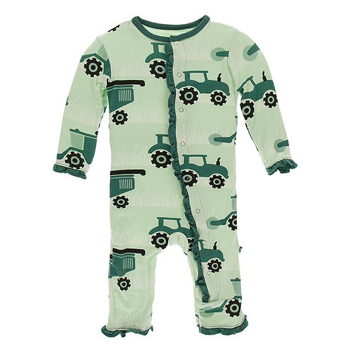 Kickee Pants Print Ruffle Coverall with Zipper Pistachio Tractors