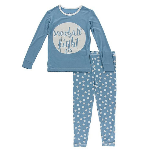 Long Sleeve Graphic Tee Pajama Set Blue Moon Snowballs