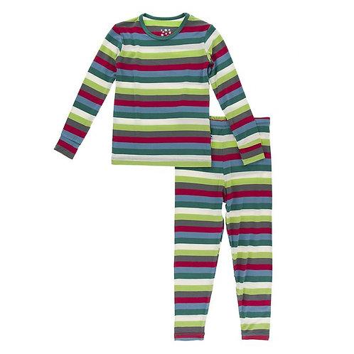 Print Long Sleeve Pajama Set 2020 Multi Stripe