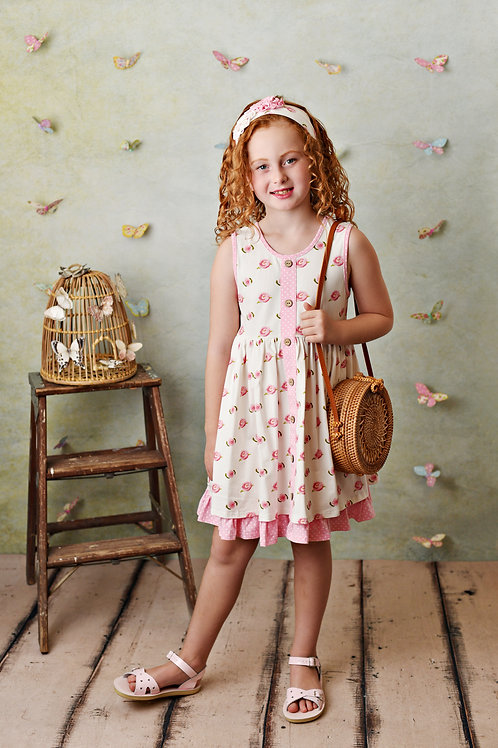 Serendipity French Rose Dress with Dot Shortie