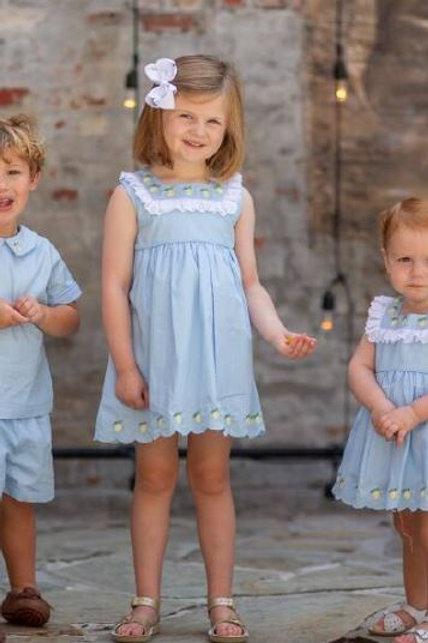 The Oaks Apparel Co. Lulu Blue Lemon Dress
