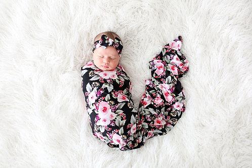 Posh Peanut Milana Infant Swaddle and Headwrap *SET*