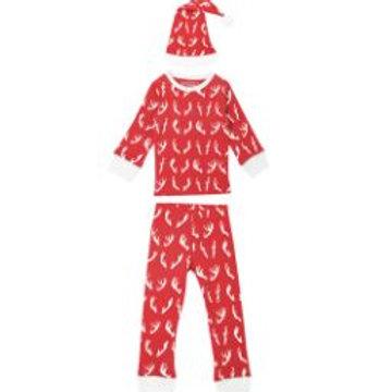 L'oved Baby Organic Kids LS PJ & Cap Set Oh Deer
