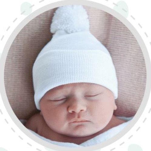 ilybean White Pom Pom Hat