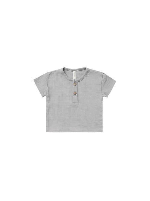 Quincy Mae Woven Henry Top Periwinkle
