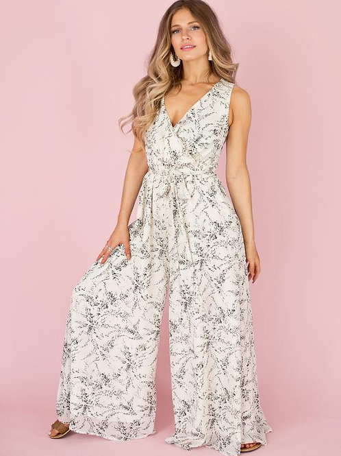 Joyfolie Evan Jumpsuit Gray Floral Women's