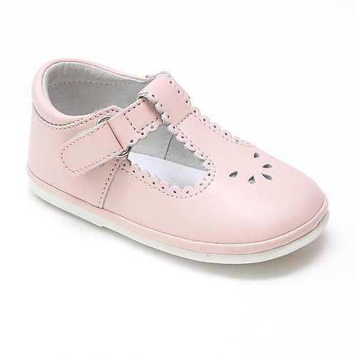 Angel Baby T-Strap Shoe Pink Scalloped H210