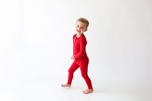 Posh Peanut Solid Ribbed Crimson Long Sleeve Henley Loungewear