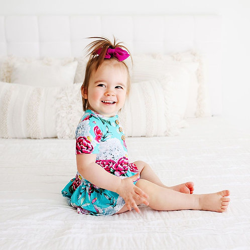 Posh Peanut Eloise Short Sleeve Henley with Twirl Skirt Bodysuit