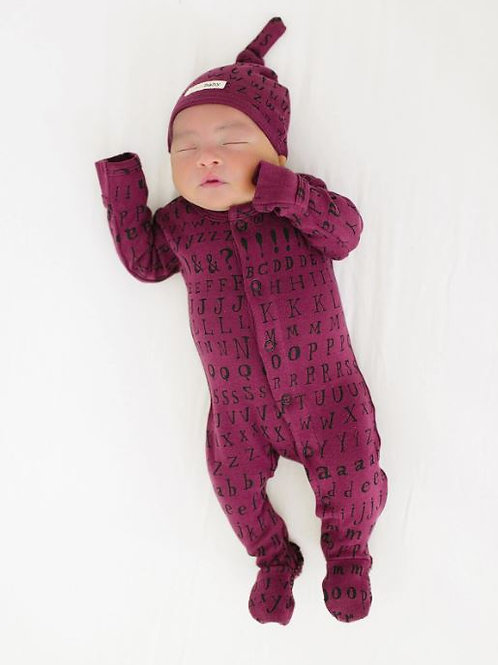 L'ovedbaby Footed Overall Cranberry Letters