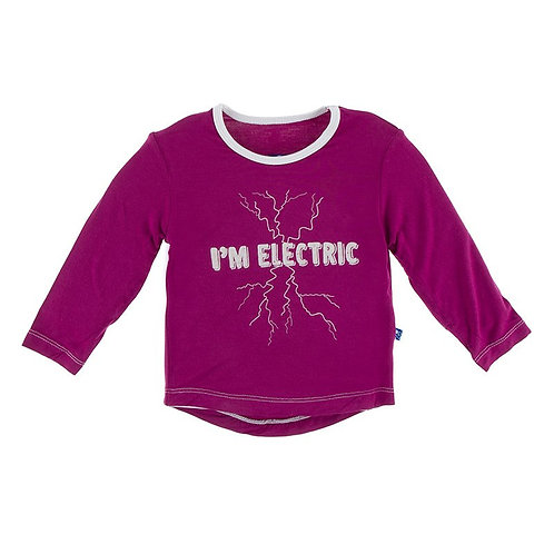 Kickee Pants LS Print Tailored  Fit Playground Tee in Berry I'm Electric