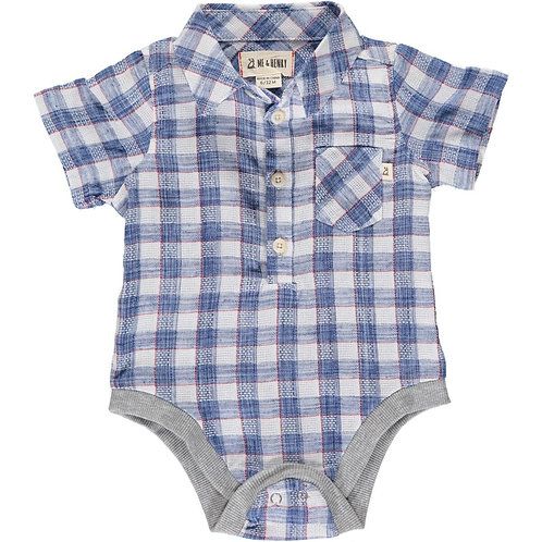Me & Henry Helford Short Sleeve Onesie Blue/Red Madras Plaid