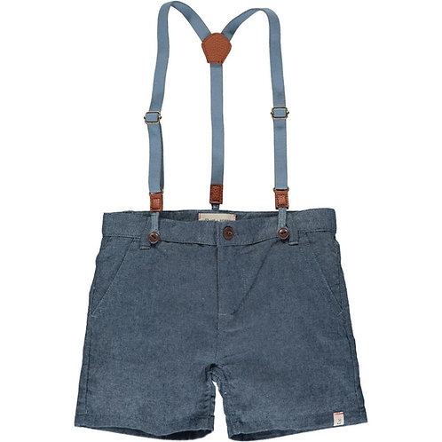 Me & Henry Captain Shorts with Suspenders Chambray