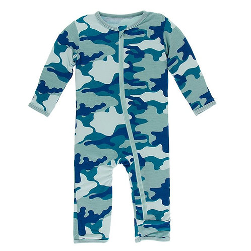 Print Coverall with Zipper Oasis Military